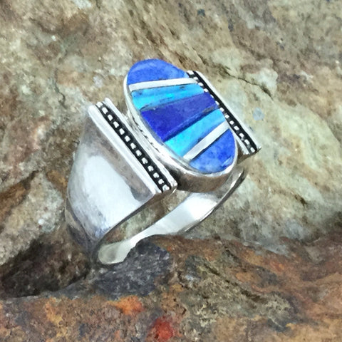 David Rosales Blue Sky Cobble Inlaid Sterling Silver Ring