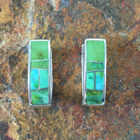 David Rosales Sonoran Gold Inlaid Sterling Silver Earrings Huggie