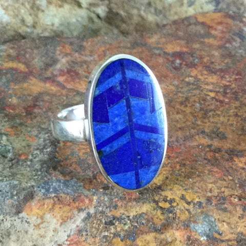 David Rosales Blue Water Inlaid Sterling Silver Ring