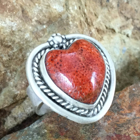 Coral & Sterling Silver Ring by Martha Willeto - Adjustable Heart