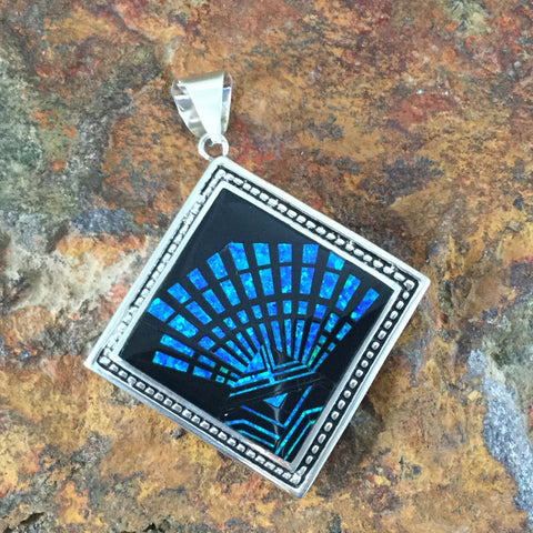 David Rosales Black Beauty Fancy Inlaid Sterling Silver Pendant