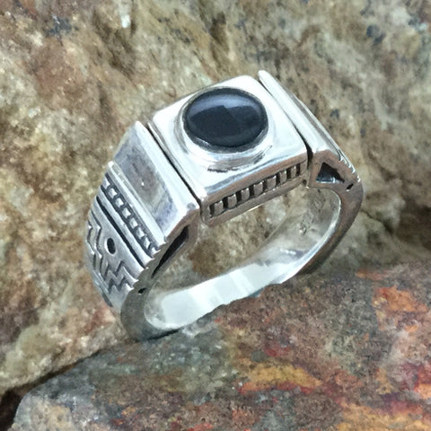 David Rosales Black Beauty Inlaid Sterling Silver Ring Reversible