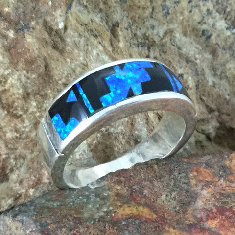 David Rosales Black Beauty Fancy Inlaid Sterling Silver Ring
