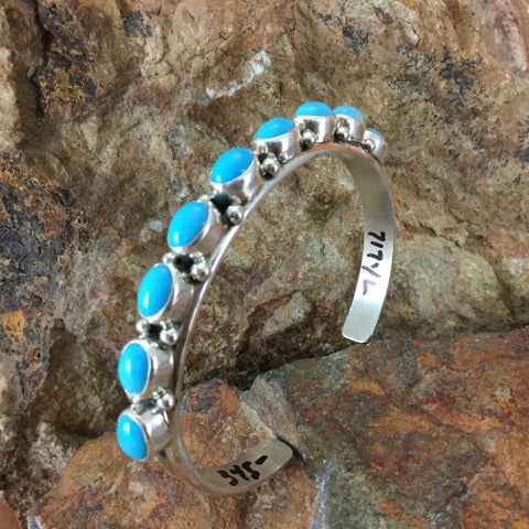 Sleeping Beauty Turquoise Multi-Stone Sterling Silver Bracelet