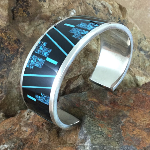 David Rosales Shadow Peak Inlaid Sterling Silver Bracelet