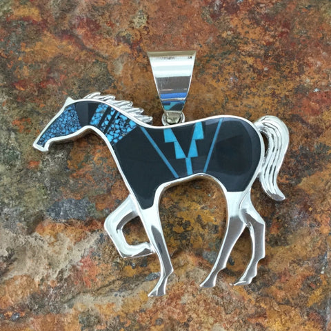 David Rosales Shadow Peak Inlaid Sterling Silver Pendant Horse