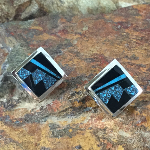 David Rosales Shadow Peak Inlaid Sterling Silver Earrings