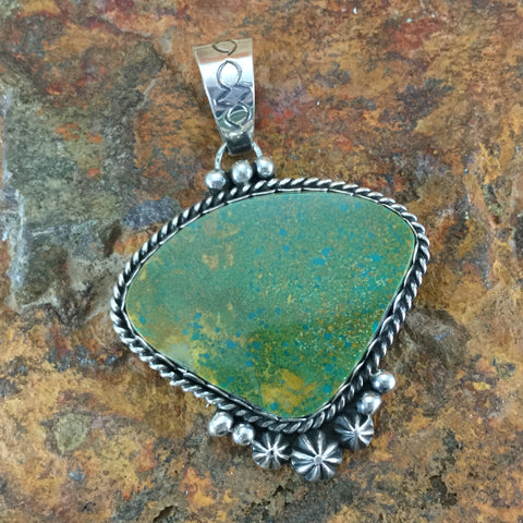 Crow Springs Turquoise Sterling Silver Pendant