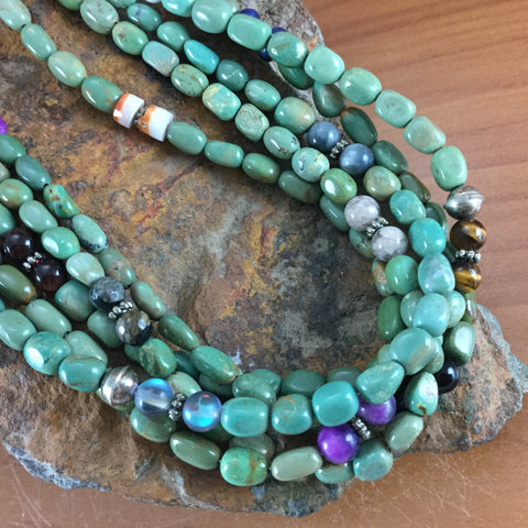 "28"" Multi-Strand Turquoise Beaded Necklace by Rose & Tommy Singer"