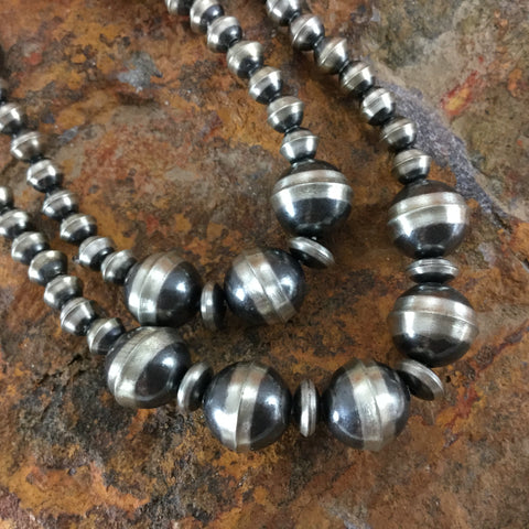 "20"" Two-Strand Oxidized Sterling Silver Beaded Necklace"