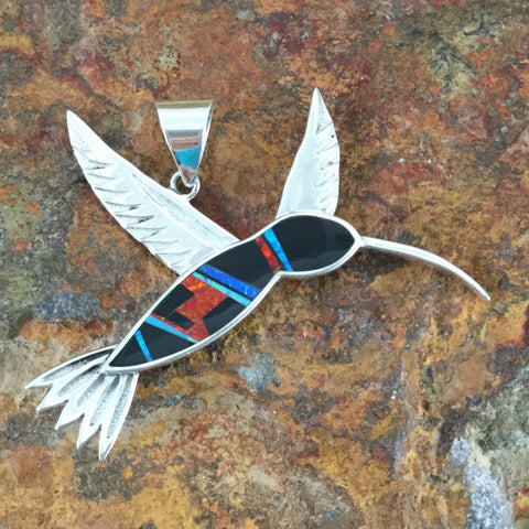 David Rosales Red Moon Inlaid Sterling Silver Pendant Hummingbird