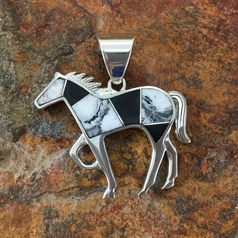 David Rosales White Buffalo Inlaid Sterling Silver Pendant Horse