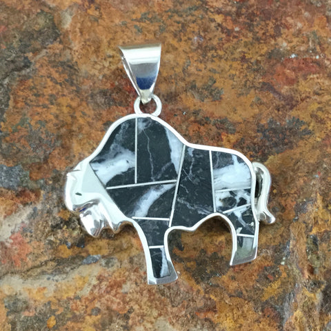 David Rosales White Buffalo Inlaid Sterling Silver Pendant Bison