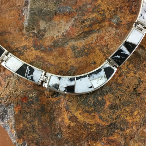 David Rosales White Buffalo Inlay Sterling Silver Necklace