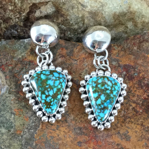 Turquoise Mountain Turquoise Sterling Silver Earrings by Artie Yellowhorse