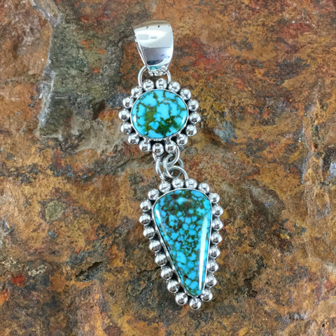 Turquoise Mountain Turquoise Sterling Silver Pendant by Artie Yellowhorse
