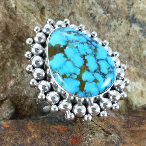 Turquoise Mountain Turquoise Sterling Silver Ring by Artie Yellowhorse Size 5