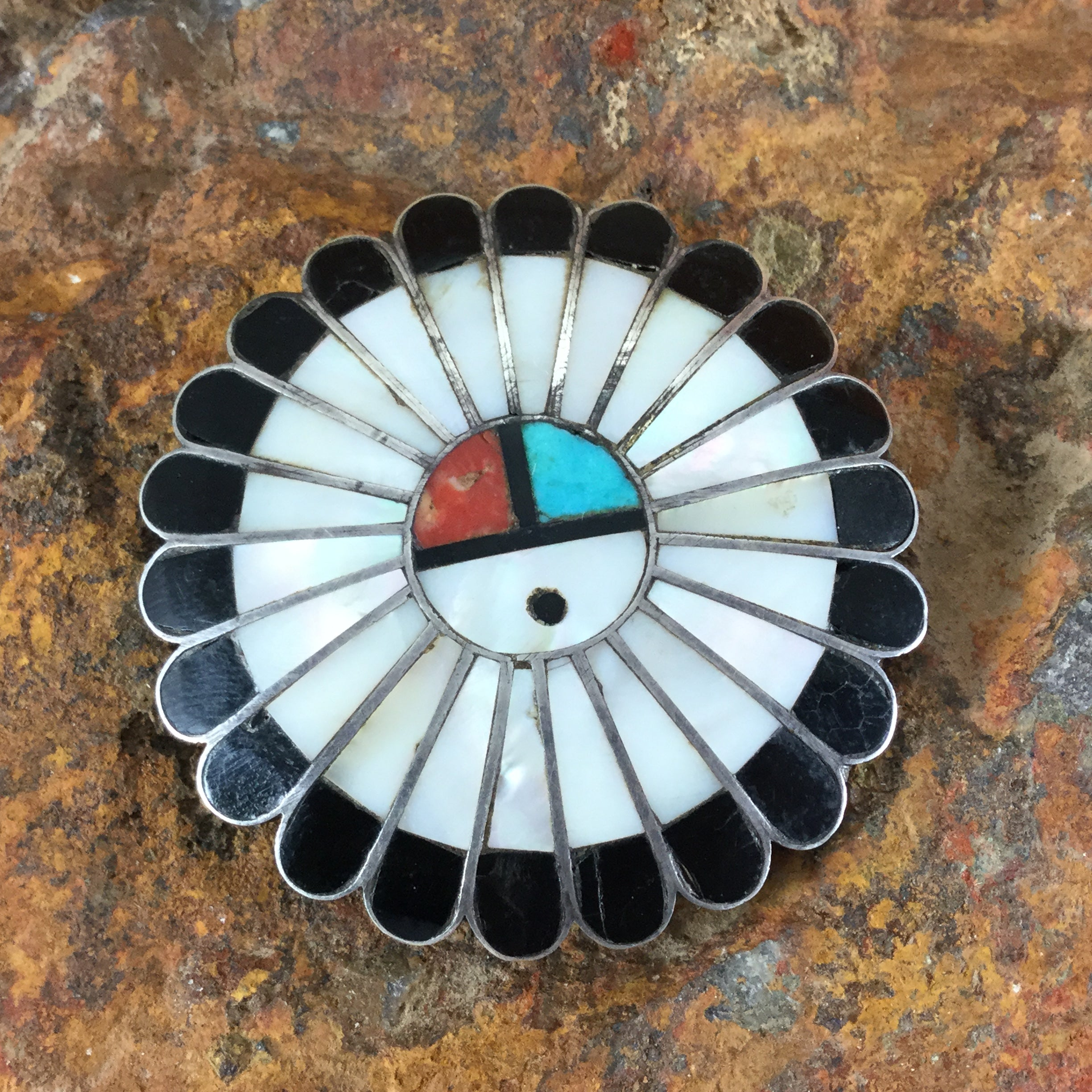 circa made zuni pendant pin turquoise or nickel silver of and