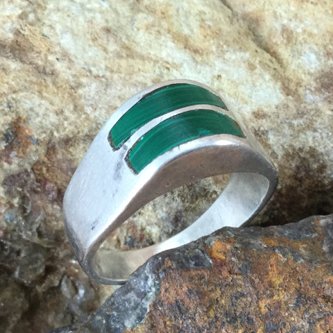 Vintage Malachite Sterling Silver Ring Size 12 -- Estate Jewelry