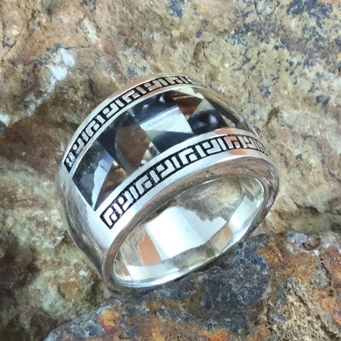 Mammoth Tooth Inlaid Sterling Silver Ring - Size 12