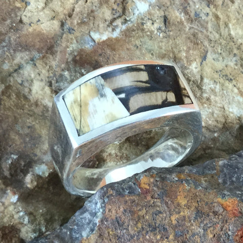 Mammoth Tooth Inlaid Sterling Silver Ring- Size 11
