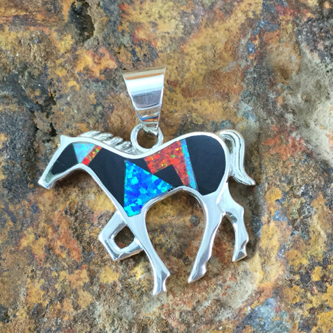 David Rosales Red Moon Inlaid Sterling Silver Pendant Horse