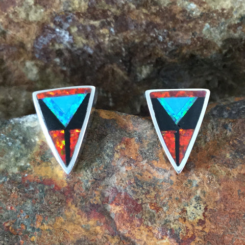 David Rosales Red Moon Inlaid Sterling Silver Earrings