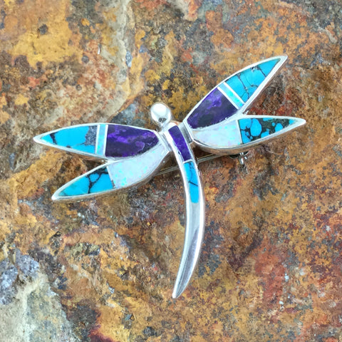 David Rosales Shalako Inlaid Sterling Silver Pendant/Pin Dragonfly