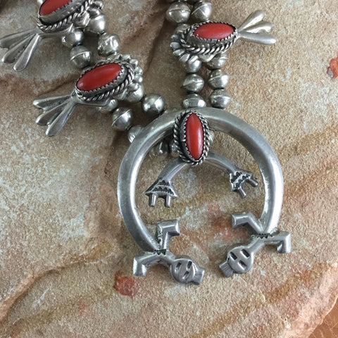 Vintage Navajo Red Coral Silver Squash Blossom Necklace -- Estate Jewelry