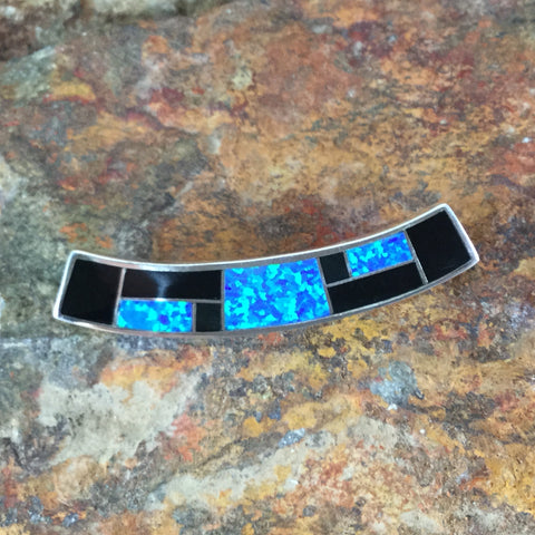 David Rosales Black Beauty Inlaid Sterling Silver Pendant Slide
