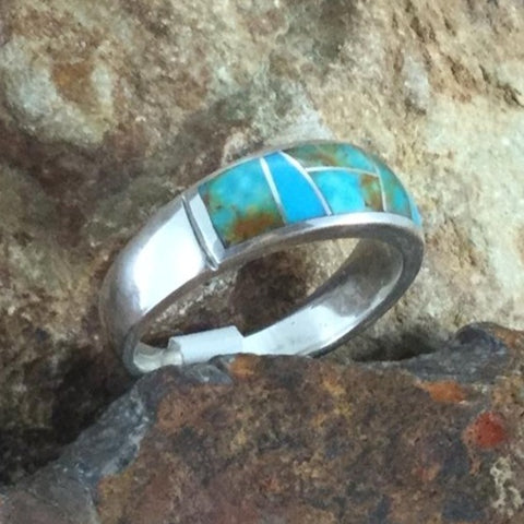 David Rosales Searchlight Turquoise Inlaid Sterling Silver Ring