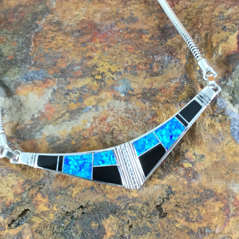 David Rosales Black Beauty Inlaid Sterling Silver Necklace