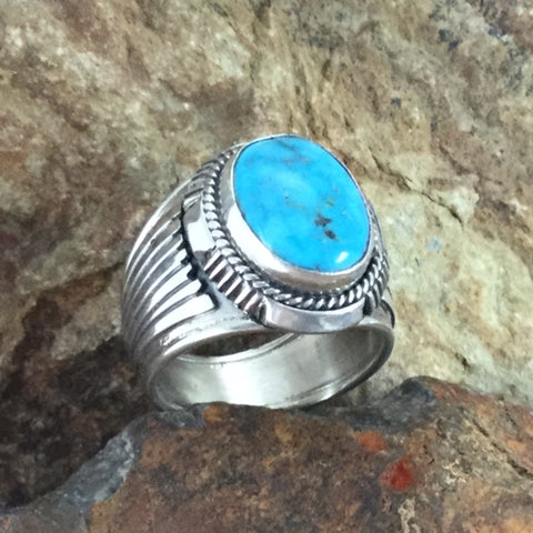 Kingman Turquoise Sterling Silver Ring by Wil Denetdale -- Size 12