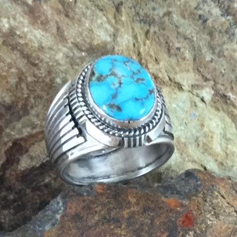 Kingman Turquoise Sterling Silver Ring by Wil Denetdale -- Size 13