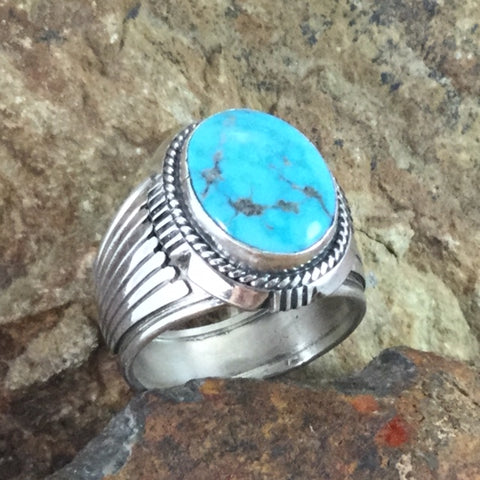 Kingman Turquoise Sterling Silver Ring by Wil Denetdale -- Size 12.5