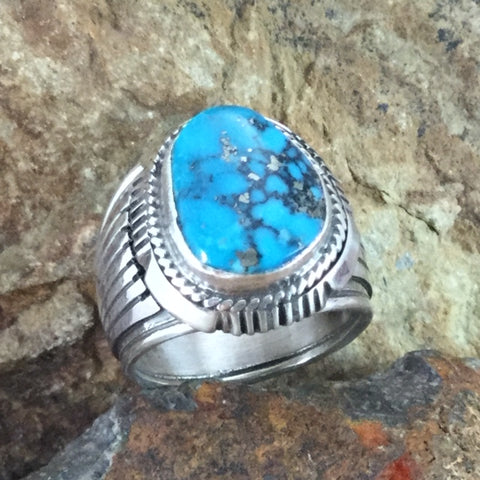 Kingman Turquoise Sterling Silver Ring by Wil Denetdale -- Size 10.5