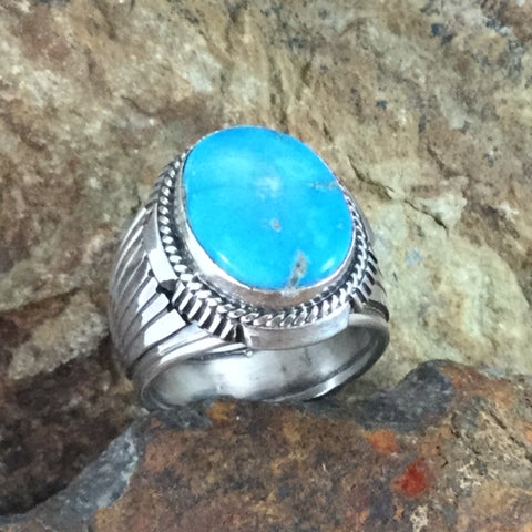 Kingman Turquoise Sterling Silver Ring by Wil Denetdale -- Size 11