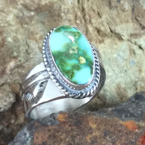 Sonoran Gold Turquoise Sterling Silver Ring by Wil Denetdale Size 7 Adj