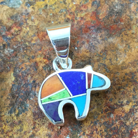 David Rosales Indian Summer Inlaid Sterling Silver Pendant Little Bear