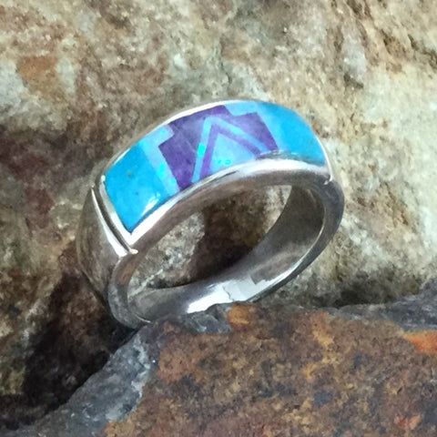 David Rosales Shalako Fancy Inlaid Sterling Silver Ring