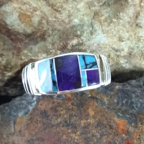 David Rosales Shalako Inlaid Sterling Silver Ring