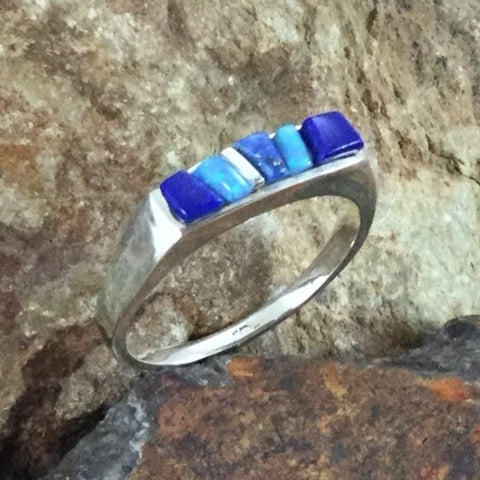 David Rosales Blue Sky Fancy Inlaid Sterling Silver Ring