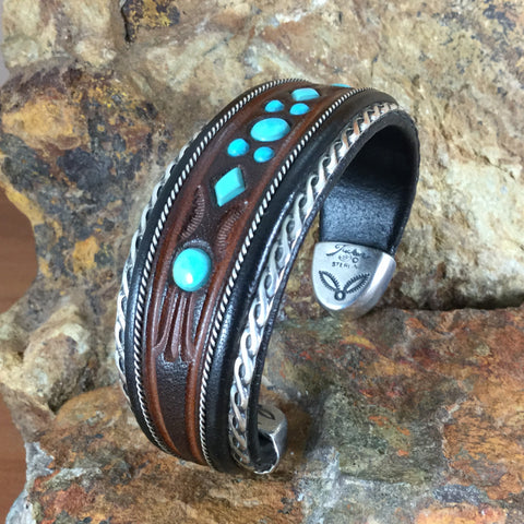 Jerry Tucker Brown & Black Leather Cuff w/ Turquoise