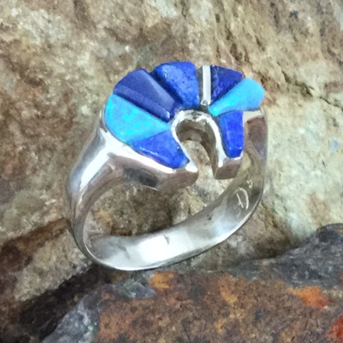 David Rosales Blue Sky Cobble Inlaid Sterling Silver Ring Bear