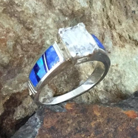 David Rosales Blue Sky Fancy Inlaid Sterling Silver Ring w/ Cubic Zirconia