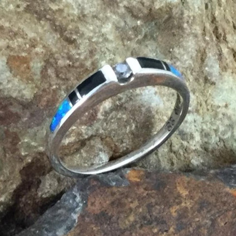 David Rosales Black Beauty Inlaid Sterling Silver Ring w/ Blue Topaz