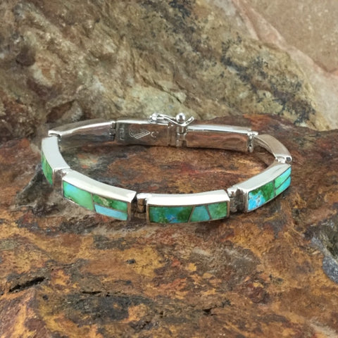 David Rosales Sonoran Gold Inlaid Sterling Silver Bracelet