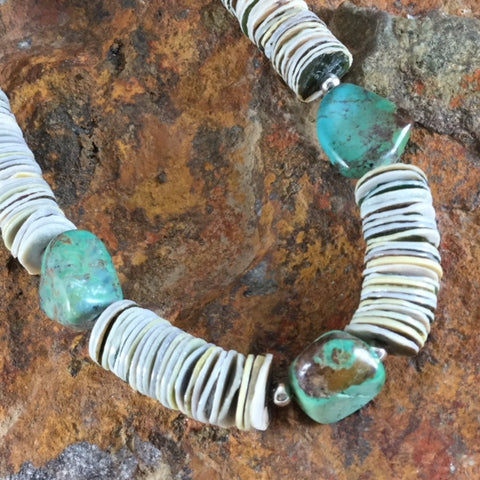 "22"" Single Strand Shell and Turquoise Beaded Necklace"