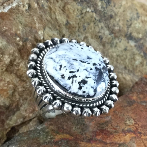 White Buffalo Sterling Silver Ring by A Martin Size 7