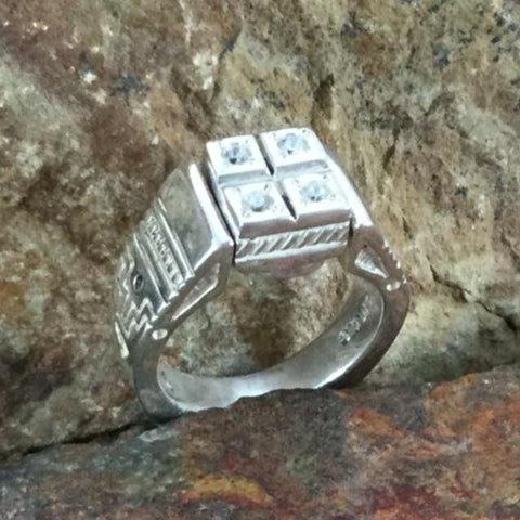David Rosales Sonoran Gold & CZ Inlaid Sterling Silver Ring Reversible
